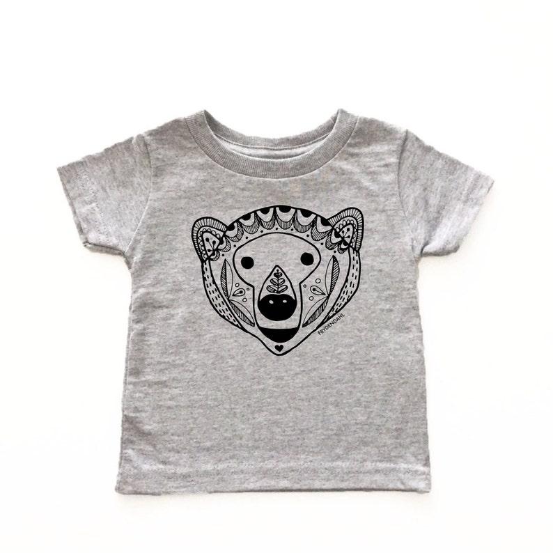 75a45a65 Scandinavian bear kids tshirt, Bear print baby shirt, Kids bear shirt,  Modern kid's clothes, Monochrome print, Woodland print, Bear tshirt
