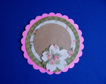 Gift Tags, Tan and Pink flowers, new, handmade