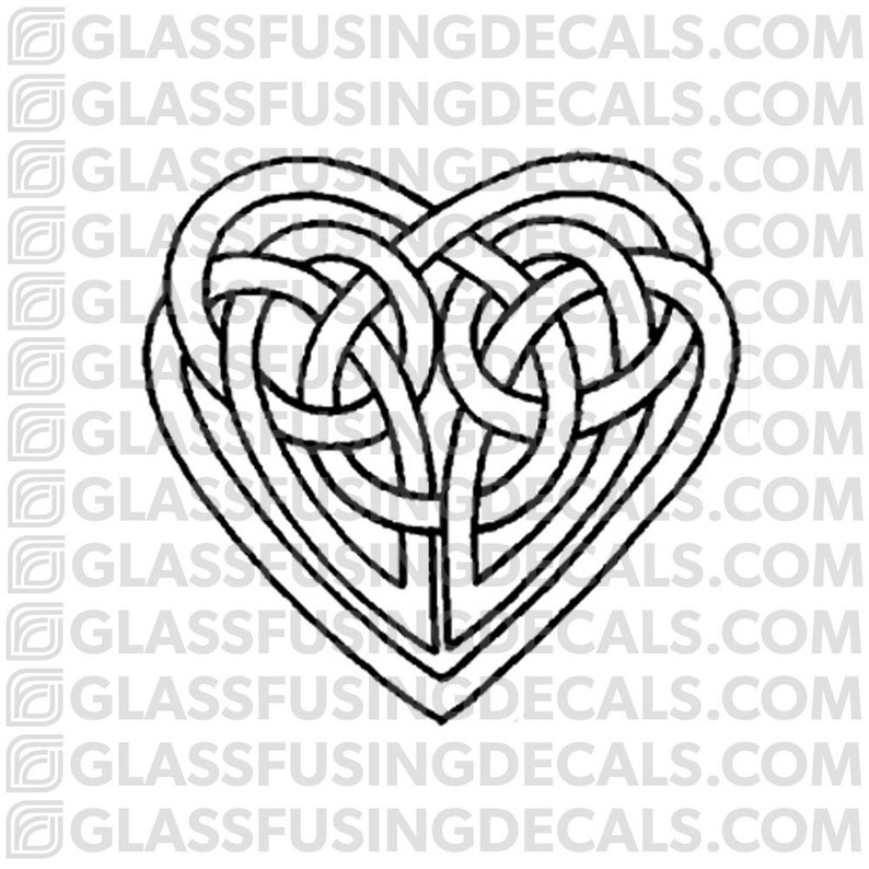 Celtic Heart 2 Glass Fusing Decal for Glass or Ceramics image 0