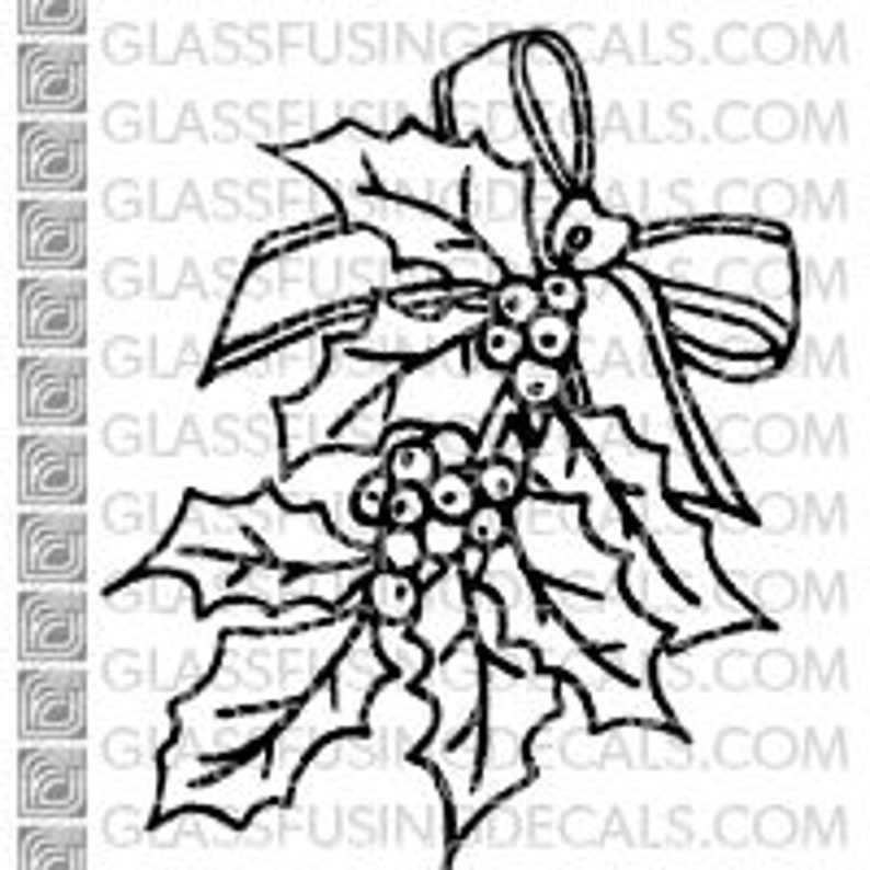 Holly with a Bow  Glass Fusing Decal for Glass Ceramics and image 0