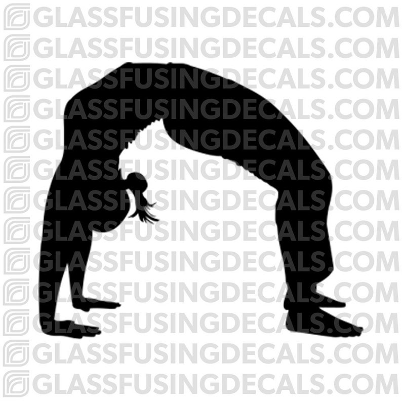 Yoga 3  Wheel/Bridge Pose Glass Fusing Decal for Glass or image 0