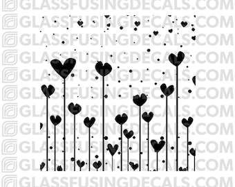 Mini Hearts 3 Pattern Glass Fusing Decal for Glass, Ceramics, and Enamelling