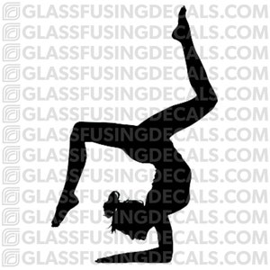 Standing Head to Knee Pose Glass Fusing Decal for Glass or Ceramics Yoga 8