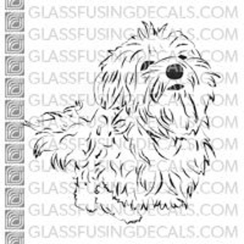 Dogs  Maltese Puppy Glass Fusing Decal for Glass Enamelling image 0