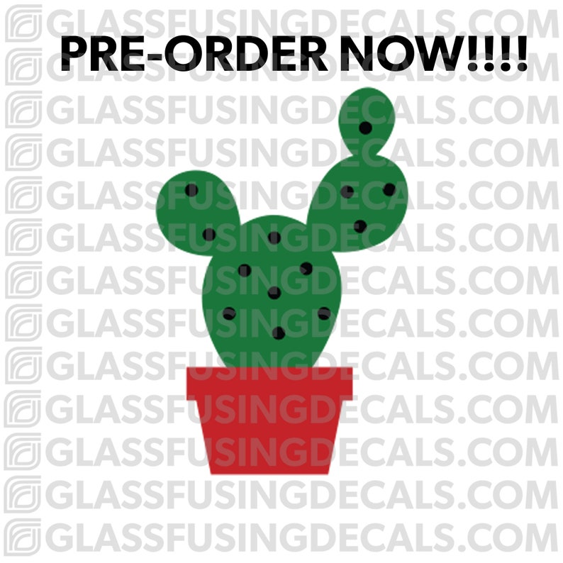 PRE-ORDER  Cactus 2 COLOUR Glass Fusing Decal for Glass image 0