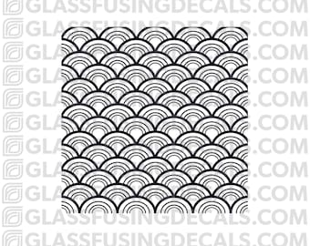 Fish Scales Mini Pattern Glass Fusing Decal for Glass, Ceramics, and Enamelling