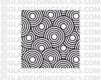 Concentric Circles Mini Pattern Glass Fusing Decal for Glass, Ceramics, and Enamelling