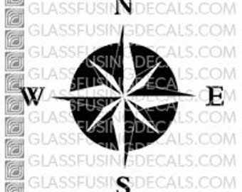 Ocean Life - Compass 1 - Glass Fusing Decal for Glass, Ceramics, and Enamelling
