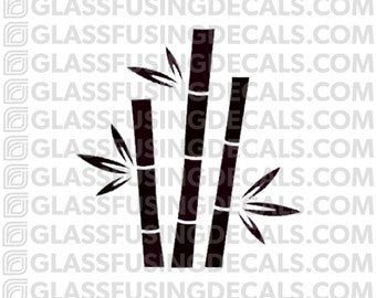 Lucky Bamboo Stand Glass Fusing Decal for Glass, Ceramics, and Enamelling