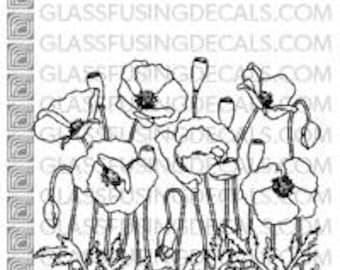 Poppy Garden - Glass Fusing Decal for Glass, Ceramics, and Enamelling