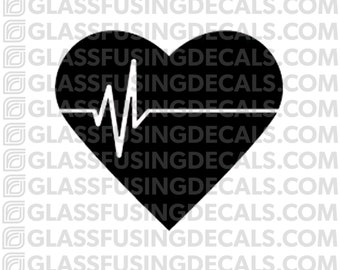Heartbeat Glass Fusing Decal for Glass, Ceramics, and Enamelling