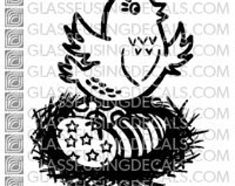 Easter Egg Chick Glass Fusing Decal for Glass or Ceramics