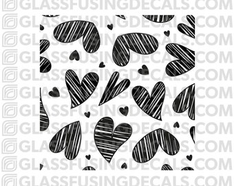Mini Hearts 1 Pattern Glass Fusing Decal for Glass, Ceramics, and Enamelling