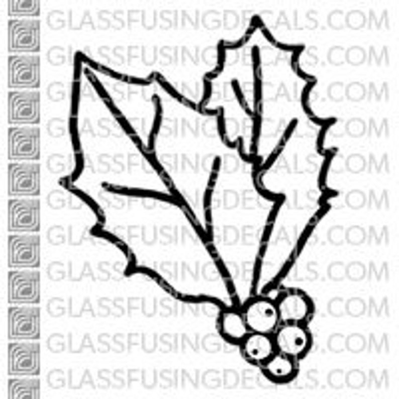 Holly Mistletoe  Glass Fusing Decal for Glass Ceramics and image 0
