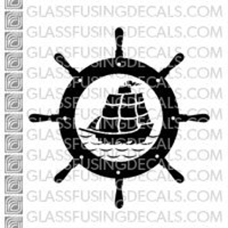 Ocean Life  Tall Ship and Wheel  Glass Fusing Decal for image 0