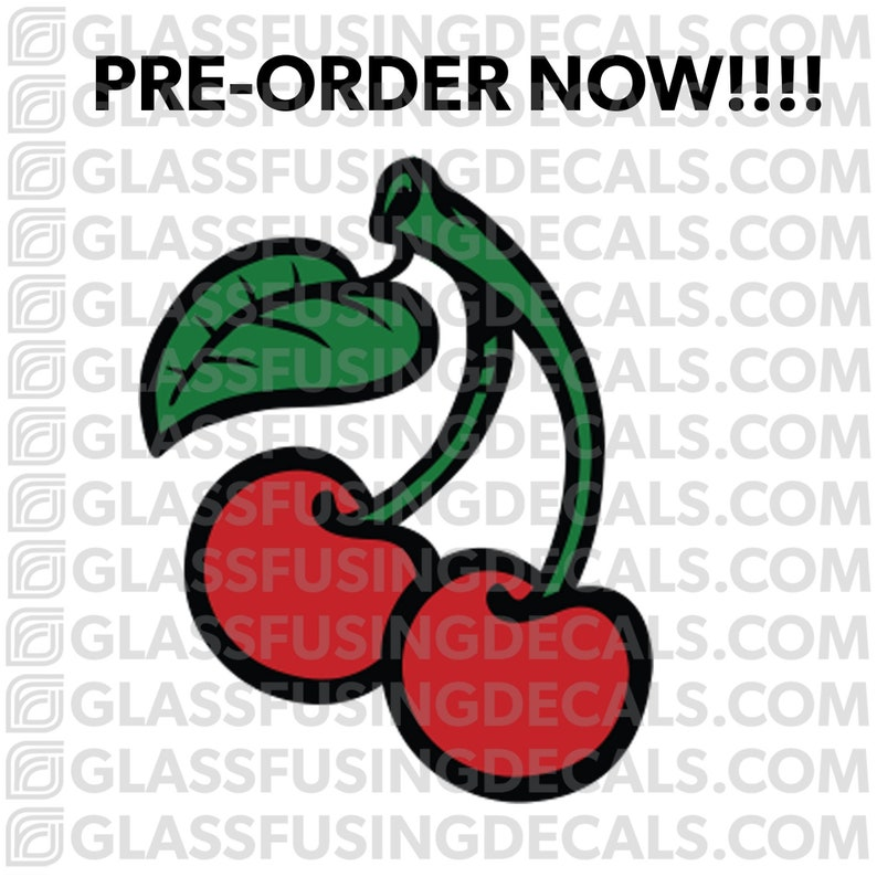 PRE-ORDER  Cherries COLOUR Glass Fusing Decal for Glass image 0