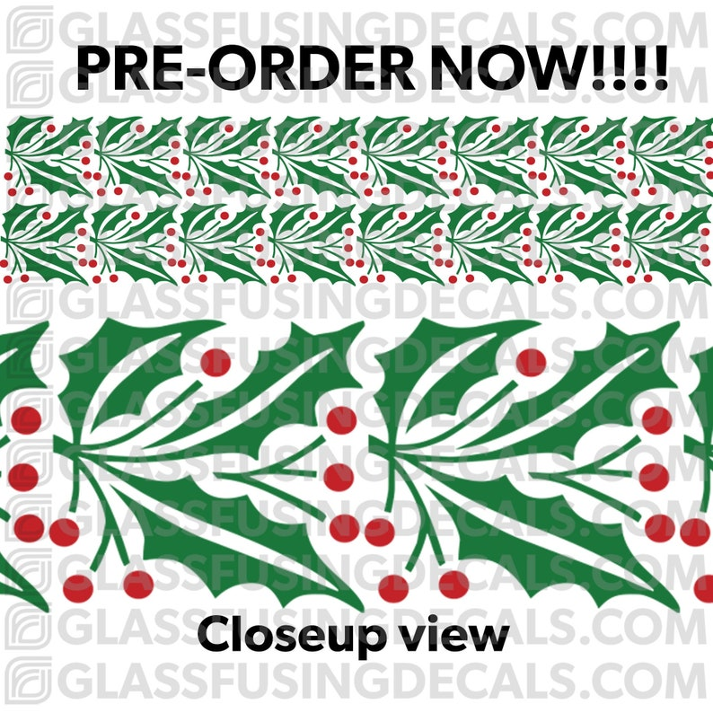 PRE-ORDER  Holly Berry Garland Large Border COLOUR Glass image 0