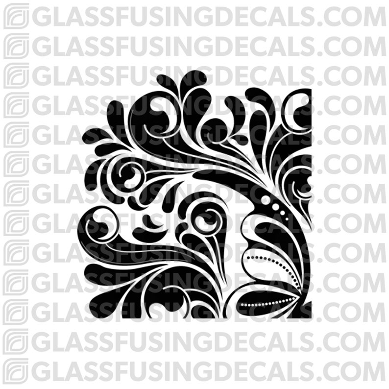 Fancy Swirls Corner   Glass Fusing Decal for Glass or image 0