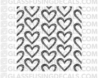 Mini Hearts 2 Pattern Glass Fusing Decal for Glass, Ceramics, and Enamelling