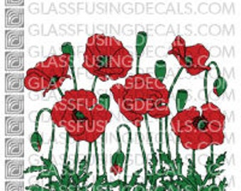 Poppy Garden COLOUR Glass Fusing Decal for Glass, Ceramics, and Enamelling