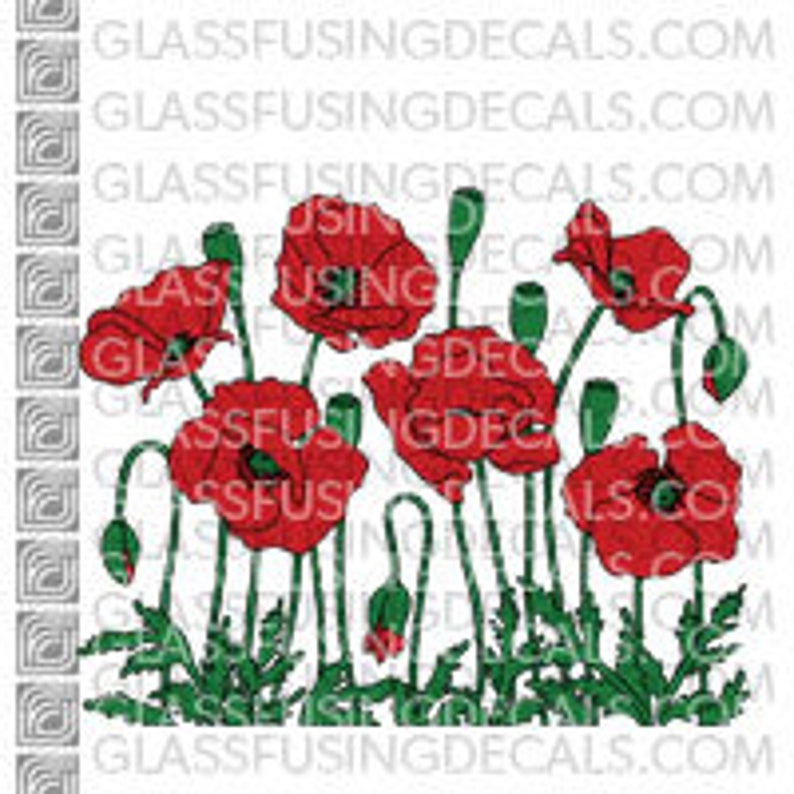Poppy Garden COLOUR Glass Fusing Decal for Glass Ceramics image 0