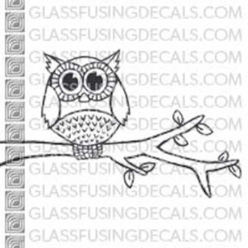 Owl On a Branch   Glass Fusing Decal for Glass Ceramics and image 0