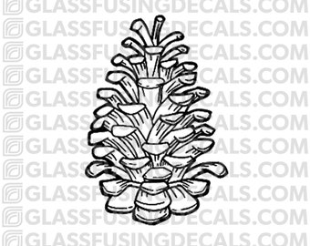Pine Cone Glass Fusing Decal for Glass, Ceramics, and Enamelling