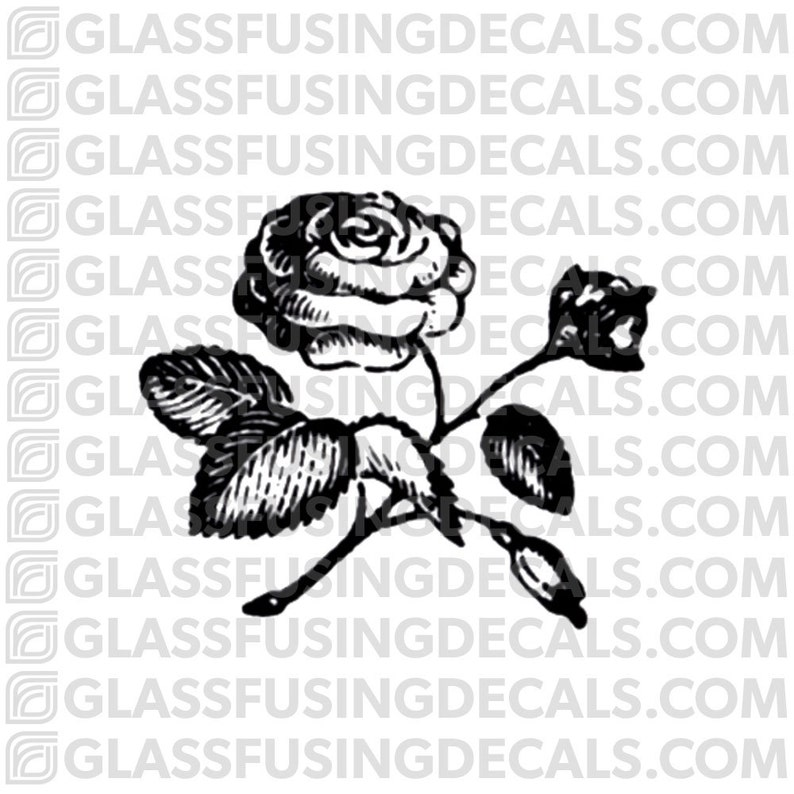 Rose Glass Fusing Decal for Glass or Ceramics image 0
