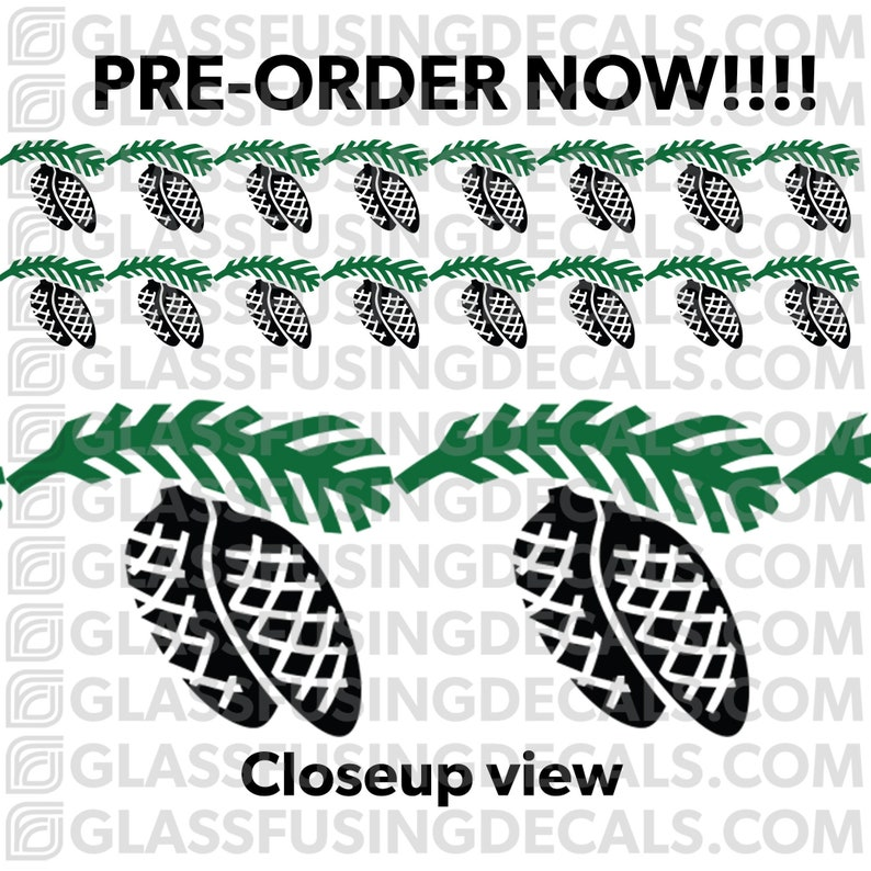 PRE-ORDER  Pinecone Branch Garland Large Border COLOUR Glass image 0