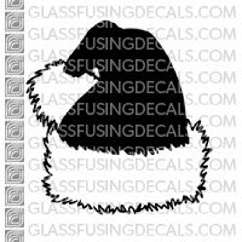 Santa's Hat  Glass Fusing Decal for Glass Ceramics and image 0