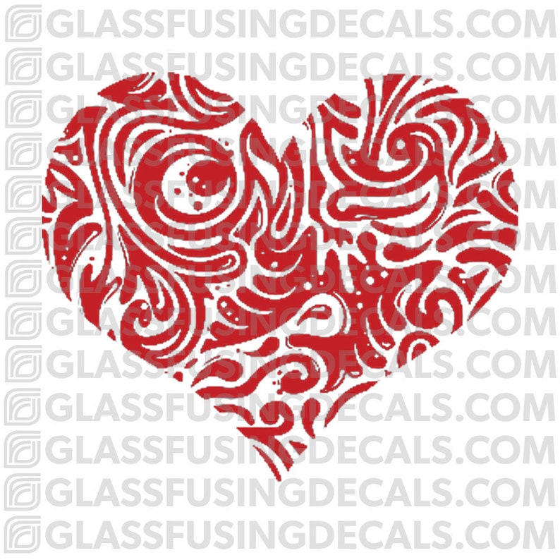 Fancy Heart 1   Glass Fusing Decal for Glass or Ceramics image 0