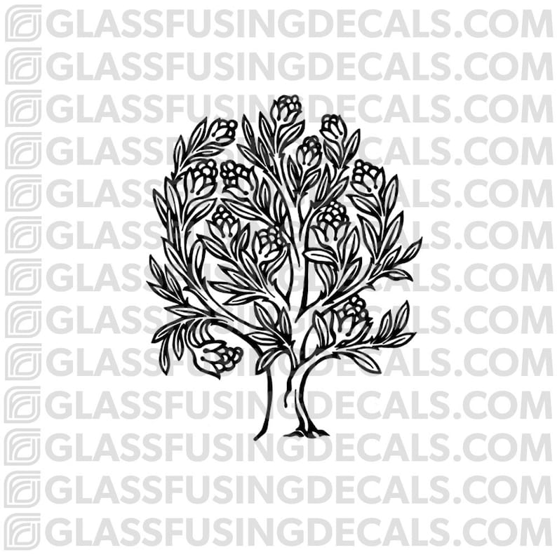 Blooming Tree Glass Fusing Decal for Glass or Ceramics image 0