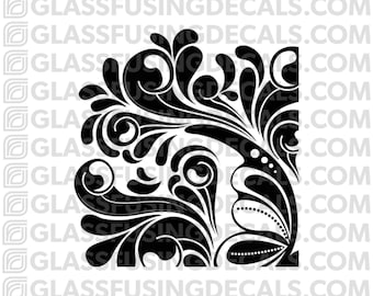 Fancy Corner Mini Pattern Glass Fusing Decal for Glass, Ceramics, and Enamelling