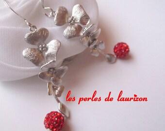 Red cascade earrings