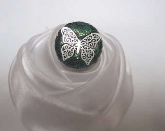 Butterfly silver green Crystal bead ring and green sequins