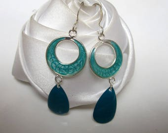 turquoise double circles earrings and the drop