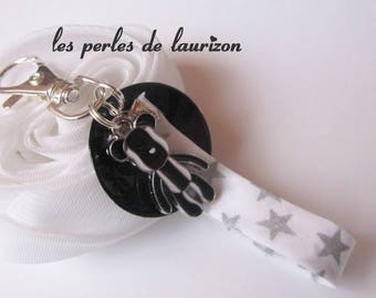 glamorous black and white bag charm