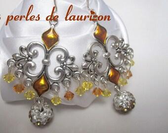 Brown Crystal baroque earrings