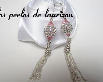 a glamorous rhinestone pink earrings