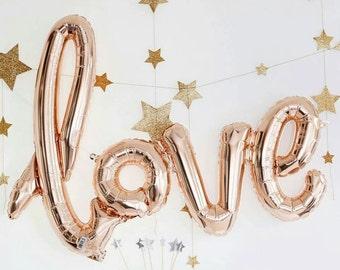Rose or ballon de Script «Love»