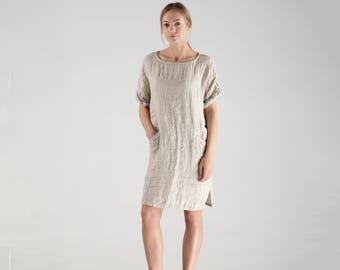 109d795e031 Loose Linen Tunic Dress   Short Loose Linen Dress   Short Linen Dress    Knee Length Linen Dress   Natural Linen Summer Dress