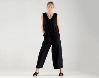Linen Jumpsuit / Black Jumpsuit / Maxi Loose Jumpsuit / Wide Leg Jumpsuit / Linen Overall / Black Overall Pants
