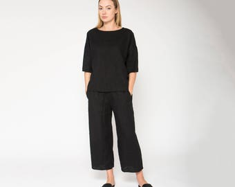 523359e83eb Black Linen Pants With Rubber   Loose Fit Linen Pants   Wide Linen Pants    Black Linen Trousers   Wide Trousers   Black Women Pants