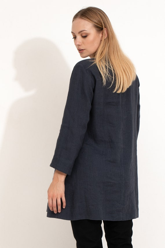 Dark Blue Linen Tunic  Charcoal Flax Shift Dress  Long Linen Blouse with V-Neck  Loose Fit Dress  Roomy Dress  Silhouette Dress