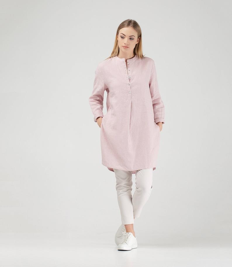 d7b63d8974e Pink Linen Tunic   Pink Linen Shirt   Long Linen Tunic Shirt