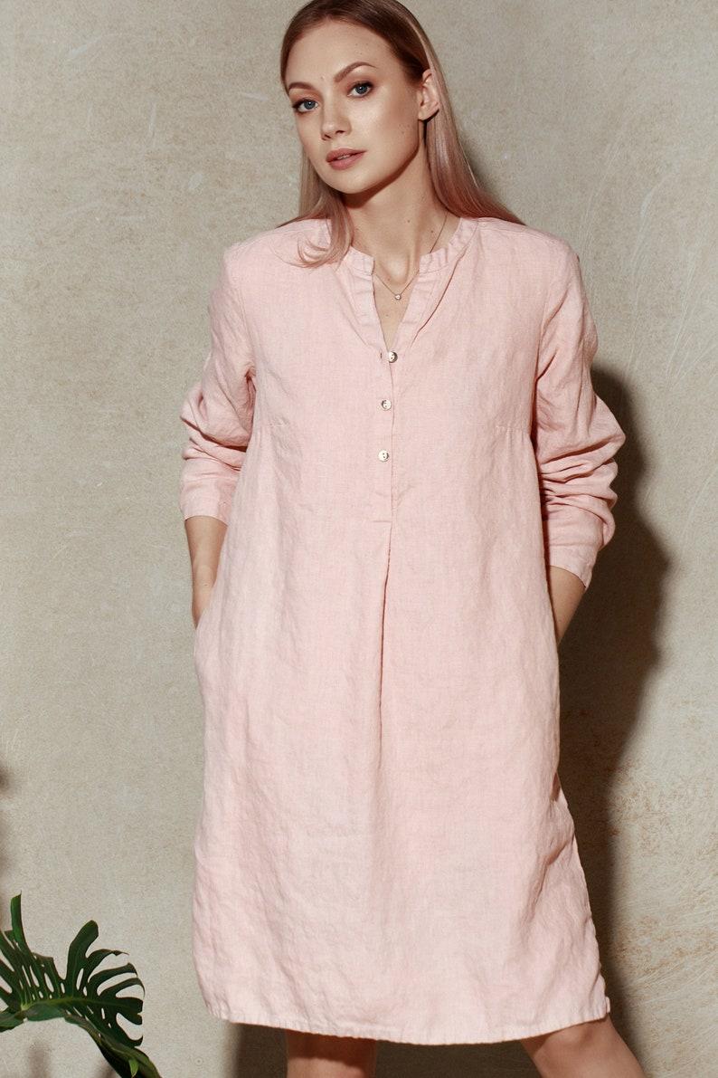 ac0077fc6f1 Pink Linen Shirt Dress   Pink Linen Shirt   Long Linen Tunic