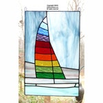 Sailboat stained glass panel with multi colored sail and bevels