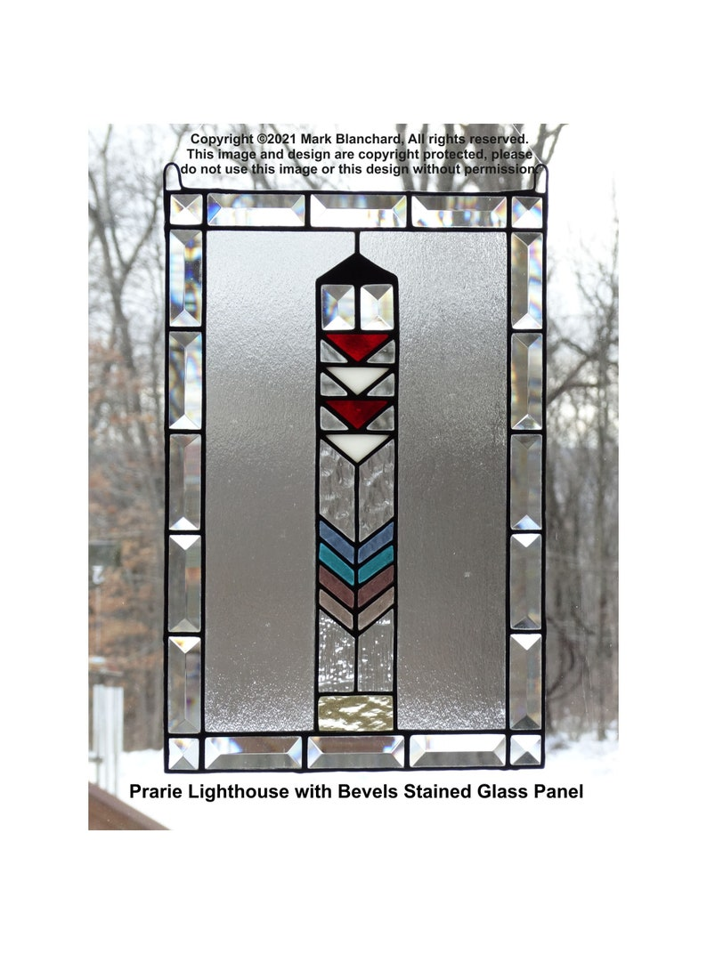 Prairie Style Lighthouse Stained Glass Panel image 0