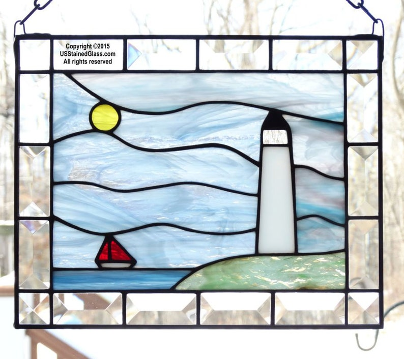 Lighthouse and Sailboat Stained Glass Window Panel with Bevels image 0
