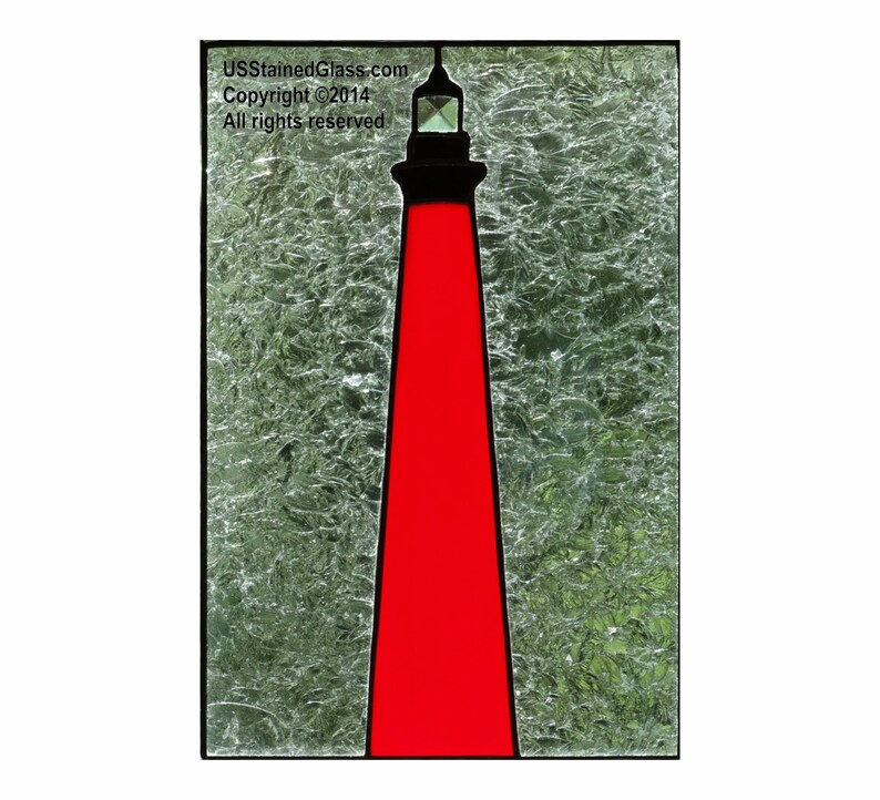 Currituck Beach Lighthouse Stained Glass Panel image 0